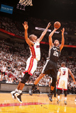 Miami, FL - June 20: Tim Duncan and Chris Bosh Photographic Print by Nathaniel S. Butler