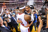 Miami, FL - June 20: LeBron James and Tim Duncan Photographic Print by Jesse D. Garrabrant