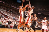 Miami, FL - June 20: Tony Parker, Shane Battier and Chris Bosh Photographic Print
