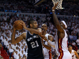 Miami, FL - June 20: Tim Duncan, LeBron James and Chris Bosh Photographic Print by Mike Ehrmann