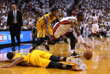 Miami, FL - May 24: Dwyane Wade, Paul George and George Hill Photographic Print by Mike Ehrmann
