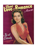 True Love & Romance Vintage Magazine - March 1942 - Cover - Lynn Bari - for All Eternity Giclee Print