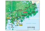 Michelin Official Coastal Maine Driving Tour Map Art Print Poster Posters