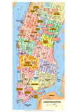 Michelin Official Lower Manhattan NYC Map Art Print Poster Prints