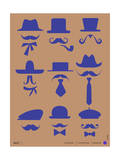 Hats and Mustaches Poster II Prints by  NaxArt