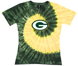 Juniors: NFL: Packers Logo Spiral V-Dye Womens V-Necks