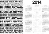 Mother Teresa Anyway Quote Motivational 2014 Calendar Poster Prints