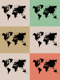 World Map Grid Poster 2 Poster av  NaxArt