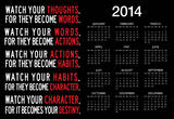 Watch Your Thoughts Motivational 2014 Calendar Poster Prints