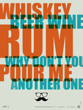 Whiskey, Beer and Wine Poster Posters by  NaxArt