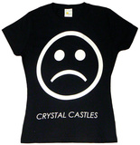 Juniors: Crystal Castles - Sad Face on Black T-shirts