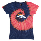 Juniors: Broncos Logo Spiral V-Dye T-shirts