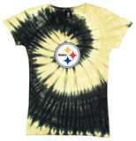 Juniors: Steelers Logo Spiral V-Dye T-shirts
