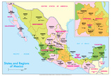 Michelin Official States and Regions of Mexico Map Art Print Poster Posters