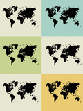 World Map Grid Poster Posters by  NaxArt