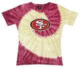 Juniors: 49ers Logo Spiral V-Dye T-Shirt