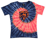 Juniors: NFL: Bears Logo Spiral V-Dye Womens V-Necks