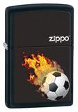 Flaming Soccer Ball Black Matte Zippo Lighter Lighter