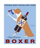 Wijn drinkende hond, Appellation Boxer met Engelse reclametekst Posters van Ken Bailey
