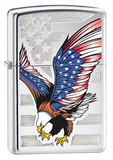 USA Flag & Eagle High Polish Chrome Zippo Lighter Lighter