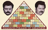 "Pyramide de grandeur de Ron Swanson de la série ""Parks and Recreation"" Posters"
