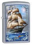 Mazzi Tall Ship Street Chrome Zippo Lighter Lighter