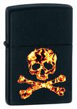 Skull & Cross Bones On Fire Black Matte Zippo Lighter Lighter