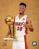 Norris Cole with the NBA Championship Trophy Game 7 of the 2013 NBA Finals Photo