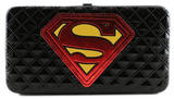 Superman Black Quilted Logo Hinge Wallet Wallet