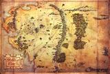 Hobbit: An Unexpected Viaje - Mapa de medio Tierra Póster