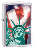 Lady Liberty With American Flag Brush Chrome Zippo Lighter Lighter