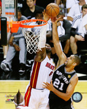 LeBron James blocks Tim Duncan's shot Game 6 of the 2013 NBA Finals Photo