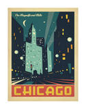 Chicago: The Magnificent Mile (Night Lights) Posters by  Anderson Design Group