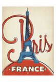 Paris, France (Red and Blue Eiffel Tower) Prints by  Anderson Design Group