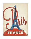 Paris, France (Red and Blue Eiffel Tower) Posters by  Anderson Design Group