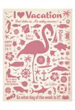 I Love Vacation (Flamingo) Poster af Anderson Design Group