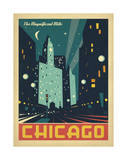 Chicago: The Magnificent Mile (Night Lights) Art by  Anderson Design Group