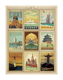 World Travel Multi Print II Art by  Anderson Design Group
