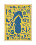 I Love The Beach (Flip Flop) Posters by  Anderson Design Group
