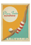 Dive Into Sunshine: California Lámina giclée por Anderson Design Group