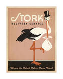 Stork Delivery Service (Pink) Print by  Anderson Design Group