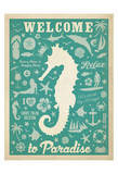 Welcome to Paradise (Sea Horse) Print by  Anderson Design Group