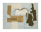 Bottle of Vieux Marc, Glass, Guitar and Newspaper, 1913 Kunstdrucke von Pablo Picasso