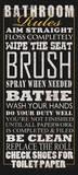 Regels voor op het toilet, Engelse tekst: Bathroom Rules Print van Jim Baldwin