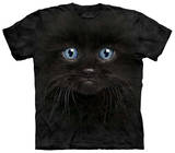 Youth: Black Kitten Face T-shirts