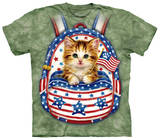 Youth: Patriotic Backpack Kitten T-Shirt