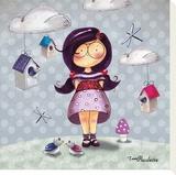 Paulette Maison Oiseau Stretched Canvas Print by Fifi Bastille