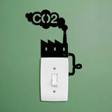 CO2 Factory Reminder single light switch sticker Autocollant mural par Antoine Tesquier Tedeschi