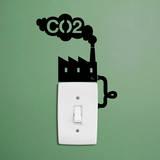 Promemoria CO2 fabbrica per singolo interruttore luce (sticker murale) Decalcomania da muro di Antoine Tesquier Tedeschi