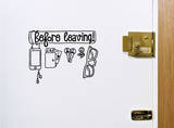 Before Leaving Checklist Sticker Wall Decal by Antoine Tesquier Tedeschi